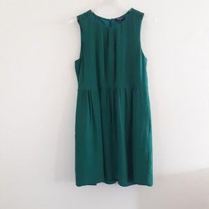Madewell | Brushed Silk Emerald Green Shift Dress